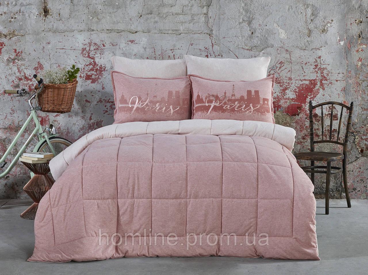 Набор постельное белье с одеялом Karaca Home Paris pudra 2019-2 пудра евро размер
