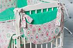 """Комплект в кроватку малышу с бортиками и балдахином """"Пирожные"""" мятного цвета, фото 4"""