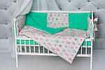 """Комплект в кроватку малышу с бортиками и балдахином """"Пирожные"""" мятного цвета, фото 5"""