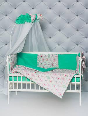 """Комплект в кроватку малышу с бортиками и балдахином """"Пирожные"""" мятного цвета"""
