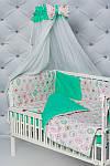 """Комплект в кроватку малышу с бортиками и балдахином """"Пирожные"""" мятного цвета, фото 7"""
