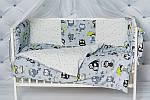 """Комплект постельного белья с бортиками и балдахином для младенца """"Серые совы"""" серого цвета, фото 2"""