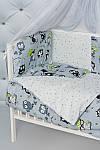 """Комплект постельного белья с бортиками и балдахином для младенца """"Серые совы"""" серого цвета, фото 3"""