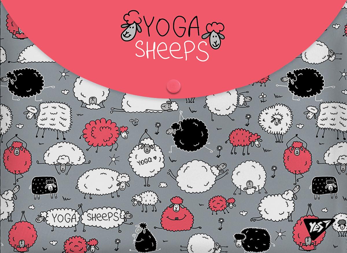 "Папка-конверт на кнопке А4 ""Yoga sheeps"""