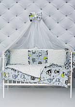 """Комплект постельного белья с бортиками и балдахином для младенца """"Серые совы"""" серого цвета"""