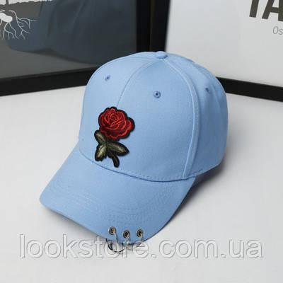 Женская летняя кепка с Розой голубая