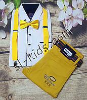 Комплект Подтяжки + Бабочка рост 86-140 см (желтые)