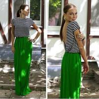Платье зеленый низ, верх в полоску