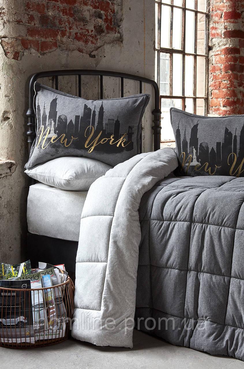 Набор постельное белье с одеялом Karaca Home New York gri 2019-2 серый евро размер
