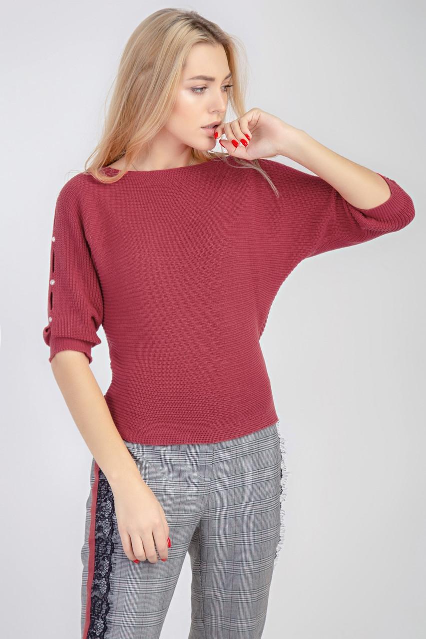 Джемпер свитер женский летний летучая мышь с прорезями и бусинами на рукавах
