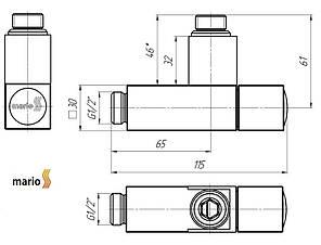 """Кран угловой квадрат G1/2"""" (комплект 2шт) MARIO, фото 2"""