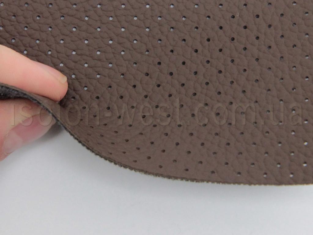 Авто кожзам, шоколадный на тканевой основе, перфорированный