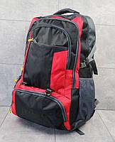 Каркасный мужской рюкзак большой с отделами для вещей и ноутбука (черный с красным), фото 1