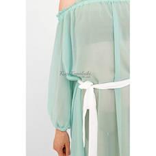 Пляжное платье бирюзовое с белым поясом 146-61, фото 3