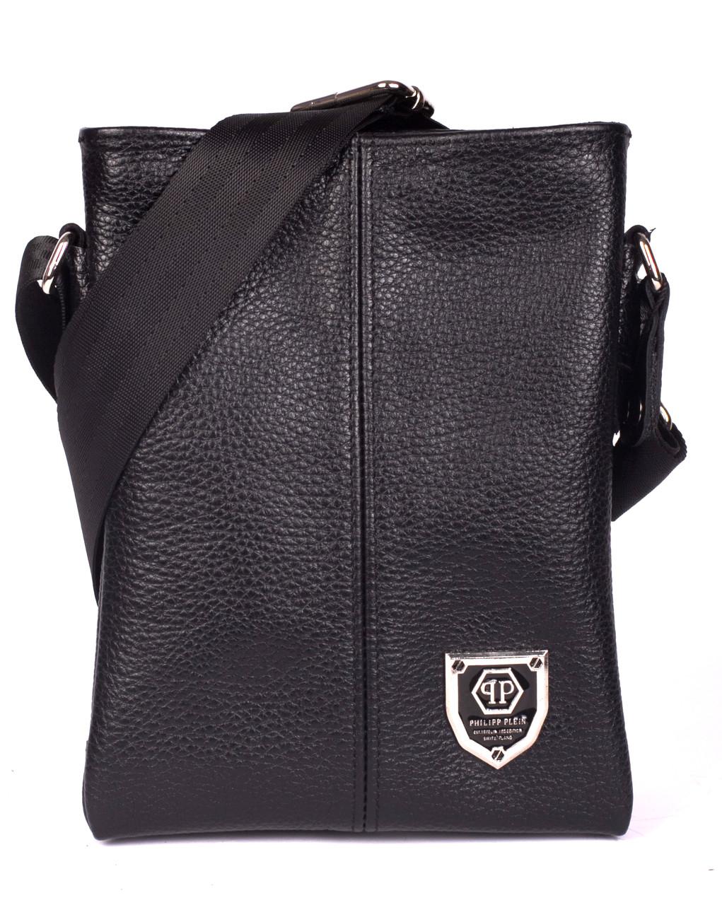 Кожаная мужская сумка Philipp Plein  19х16 см. Мужская сумка из натуральной кожи