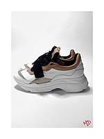 Женские белые кроссовки из натуральной мягкой кожи на шунрках и липучке 40 размер