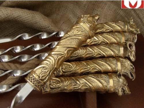 """Набор шампуров ручной работы """"На привале"""", в кейсе из натурального дерева"""