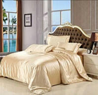 Полуторный комплект постельного белья из атласа Золотой песок