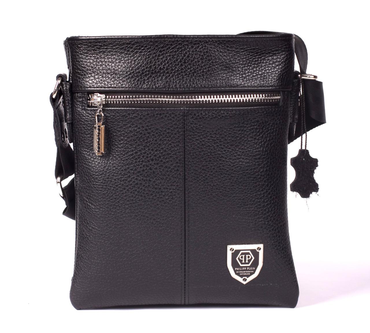 Кожаная мужская сумка Philipp Plein 22х19 см Двусторонняя. Мужская сумка из натуральной кожи