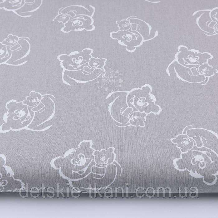 Бязь с белыми мишками на сером фоне (№13)