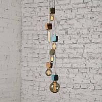 Подвесной светильник из дерева дизайнерский Е-27 на 8 подвесов