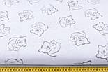 Хлопковая ткань с серыми мишками на белом (№14)., фото 2