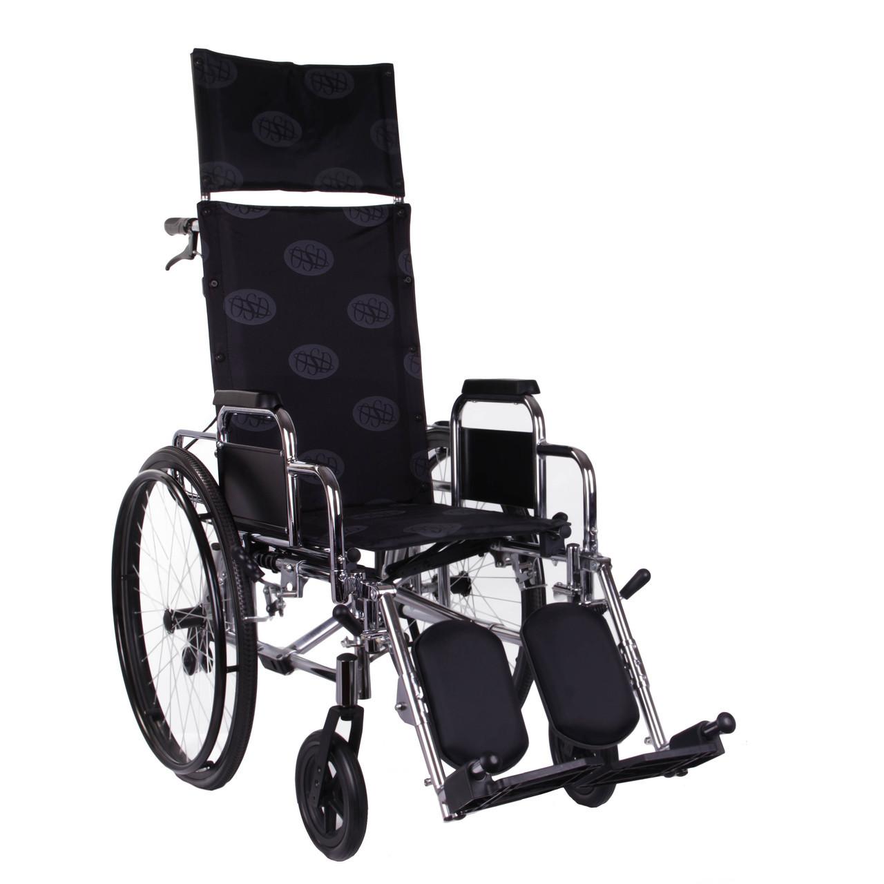 Коляска инвалидная с откидной спинкой «Recliner» (хром)