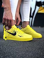 Женские кроссовки Nike Air Force Yellow  \ Найк Аир Форс Желтые \ Жіночі кросівки Найк Аір Форс Жовті