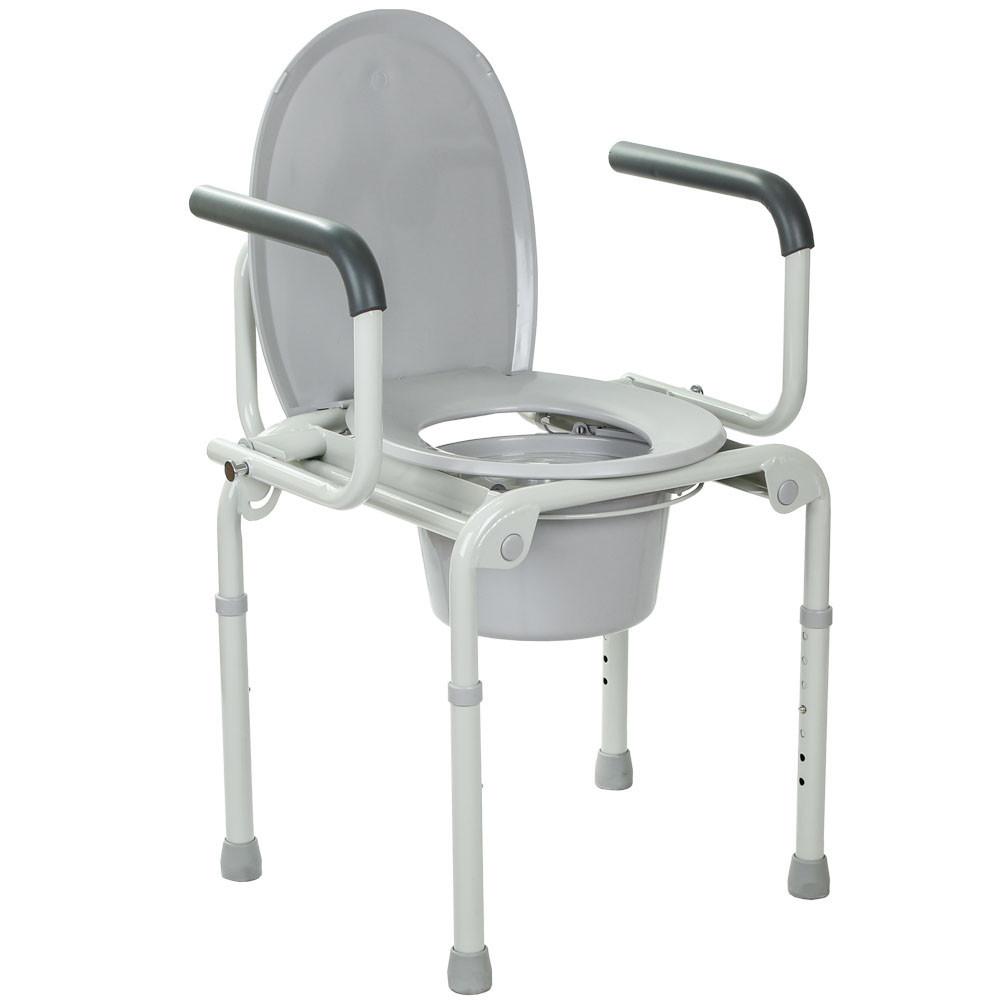 Стальной стул-туалет с откидными подлокотниками