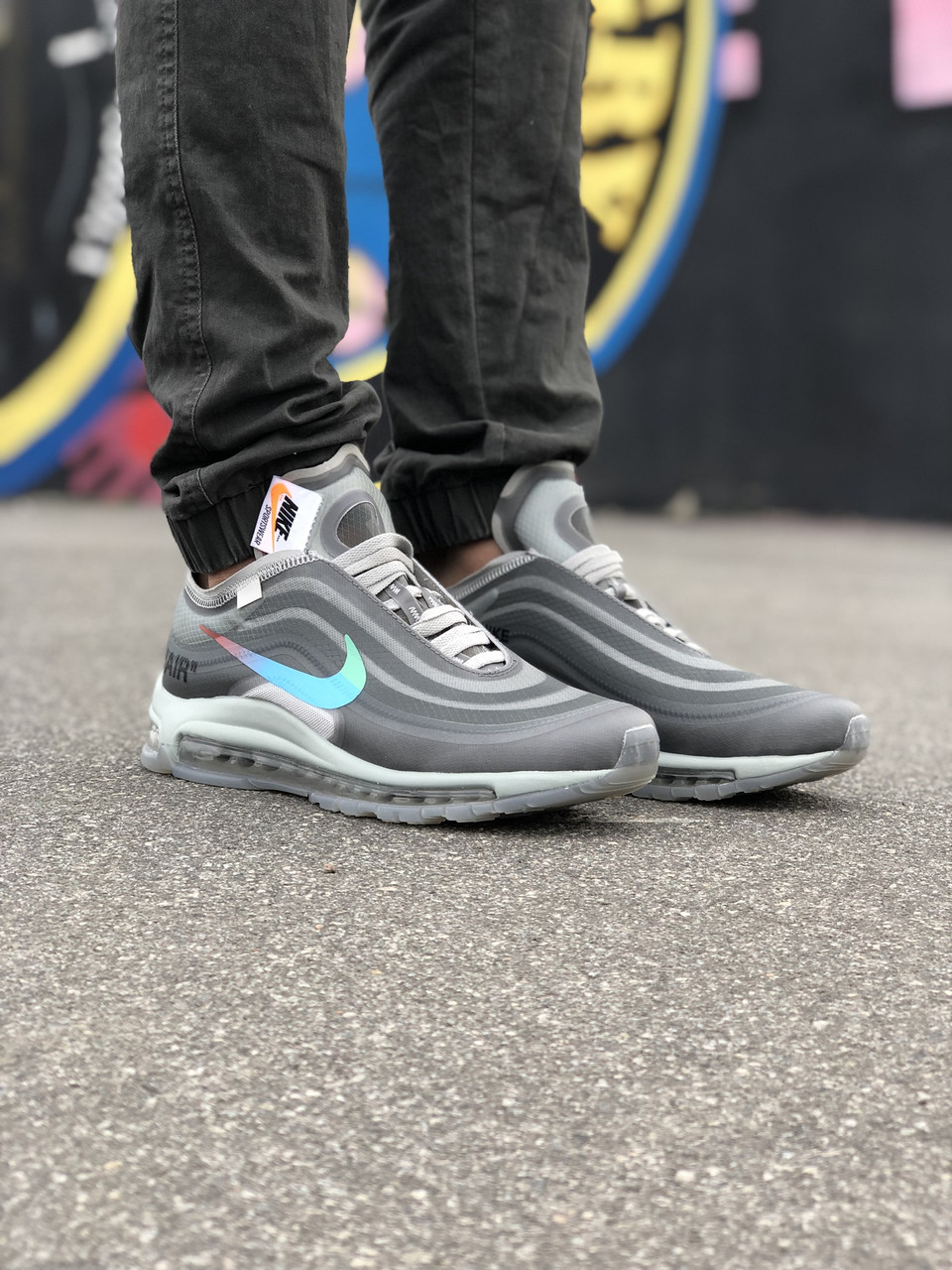 Кроссовки Off-White x Nike Air Max 97 Menta Серые
