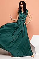 Шелковое платье макси на запах с поясом