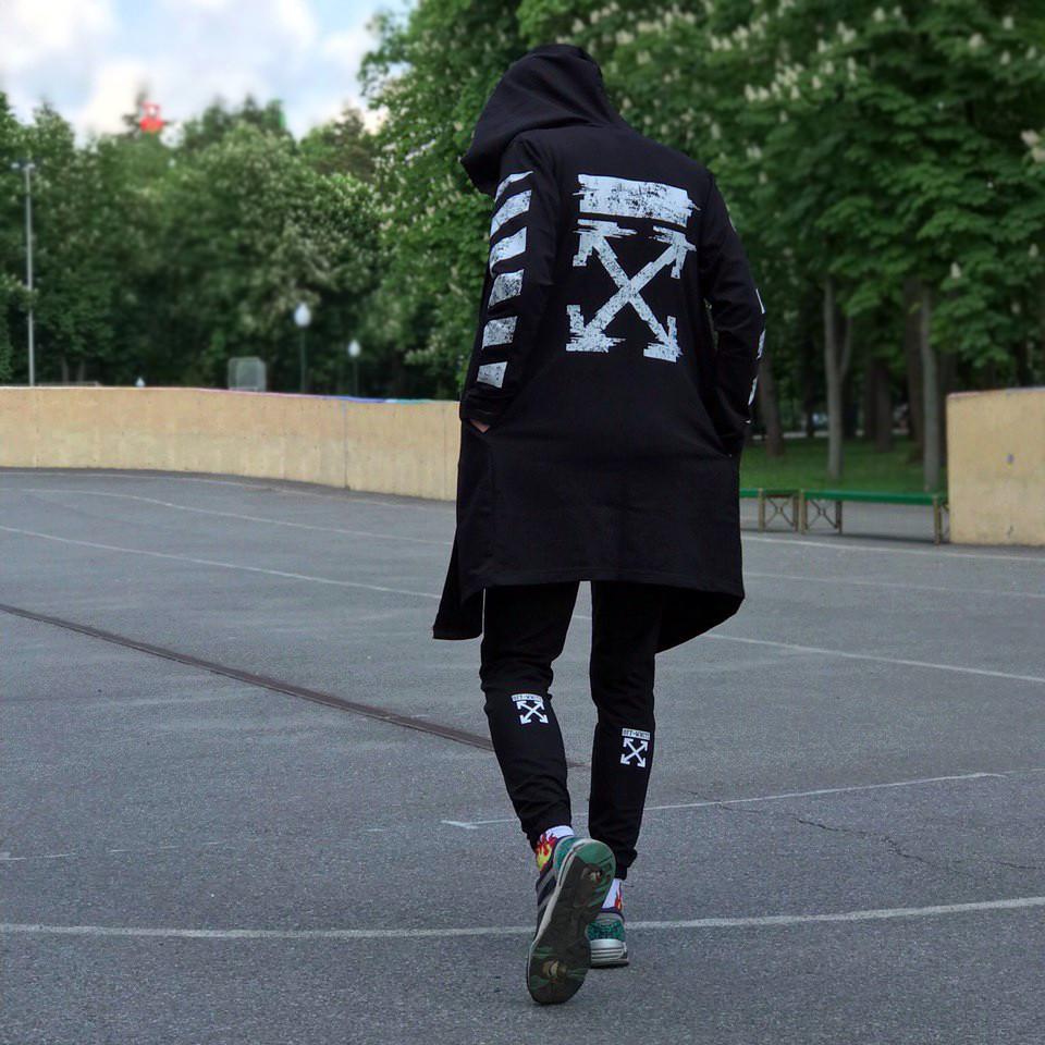 Мантия унисекс в стиле Off white Cross pixel черная