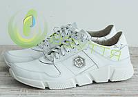 Мужские кожаные кроссовки арт 266/21 бел размеры 40,42,45, фото 1