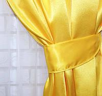 Однотонная ткань атлас. Ширина в рулоне 1,5м. Цвет желтый. 19ша, фото 1
