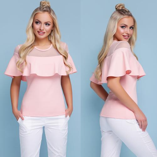 Нарядная летняя блузка с воланом цвет персиковый размеры 42 по 46