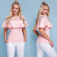 Нарядная летняя блузка с воланом цвет персиковый размеры 42 по 46, фото 1