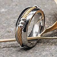 Кольцо из медицинской стали унисекс Золотой жгут 7 мм