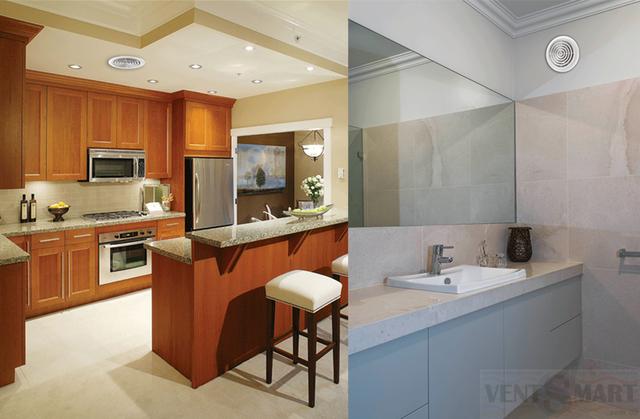 Варианты применения вентиляторов вытяжных круглых для потолочного и настенного монтажа: потолочный монтаж на кухне и настенный монтаж в ванной комнате.