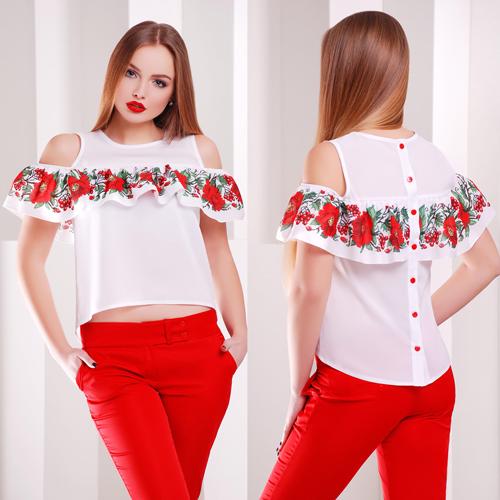 ac1ad402b4a Белая блузка с воланом и ярким принтом - СТИЛЬНАЯ ДЕВУШКА интернет магазин  модной женской одежды в