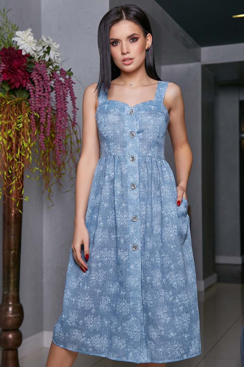 bd4a2fa7172917 Жіноче літнє плаття, блакитне, з квітковим принтом, молодіжне, повсякденне,  пляжне, романтичне, сарафан