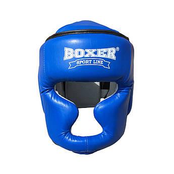 Шлем для бокса и единоборств L Кожа синий