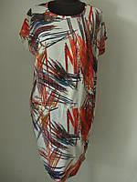 Платье цветное ровного кроя , легкая тонкая ткань софт, ботал. р.50 (2XL) код 1550М