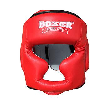 Шлем для бокса и единоборств L Кожа красный