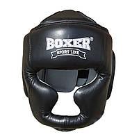 Шлем для бокса и единоборств L Кожа черный
