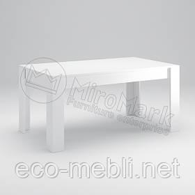 Стіл столовий 1600х950 у вітальню Рома Білий Глянець Міромарк