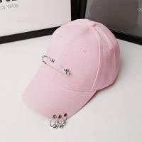 Женская летняя кепка с булавкой и колечками розовая, фото 1
