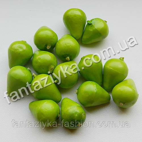 Малюсенькая груша искусственная 20мм, зеленая без хвостика