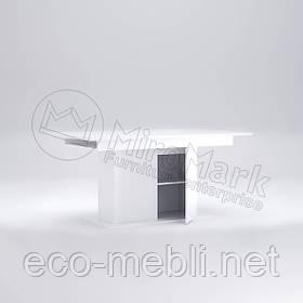 Стіл столовий трансформер розкладний з дверцятами 1500х900 у вітальню Рома Білий Глянець Міромарк