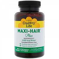 Витамины для кожи, ногтей и волос Country Life Maxi-Hair Plus (120 капс)