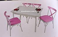 """Комплект кухонной мебели стол и 4 стула """"Pembe Gul"""" Mobilgen, Турция"""